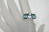 "+MBA #E53-213   ""Older Rodium Plated Silver Clear & Blue CZ Ring"""