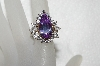 "+MBA #E53-210   ""Older Plated Sterling Fancy Clear & Lavender CZ Ring"""