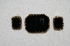 "MBA #E53-121   ""Made In West Germany Black Glass Stone Pin & Earring Set"""