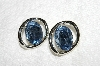"+MBA #E53-167   ""Vintage Silvertone Blue Acrylic Stone Earrings"""