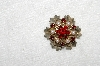 "**MBA #E53-232   ""Vintage Goldtone Red Crystal Rhinestone & Faux Pearl Flower Pin"""
