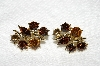 "MBA #E53-189   ""Vintage Goldtone Multi Colored Crystal Rhinestone Clip On Earrings"""