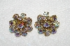 "+MBA #E53-048   ""Weiss Gold Tone AB Crystal Rhinestone Clip On Earrings"""