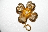 "**MBA #E51-196   ""Vintage Goldtone Mesh & Faux Pearl Flower Pin"""
