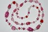 "MBA #E51-468   ""Vintage Pink, Clear & Red Glass Bead Necklace"""