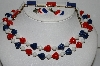 "**MBA #E51-100   ""Vintage Lot Of  3 Pieces Of  Red, White & Blue Thermoplastic Jewelry"""