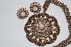 "MBA #E51-336   ""Vintage Copper Faux Stone Necklace & Earring Set"""