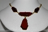 "MBA #E51-175   ""Vintage Gold Plated Red Lucite Stone Necklace"""