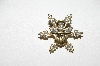 "**MBA #E51-260   ""Vintage Goldtone Clear Crystal Angel Snow Flake Pin"""