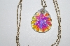 "MBA #E51-398   ""Vintage AB Crystal Stone Pendant With Chain"""