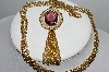 "MBA #E51-374   ""Avon Gold Tone Purple Glass & Faux Pearl Pendant With Chain"""