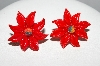"+MBA #E51-425   ""Vintage Red Thermoplastic Poinsettia Screw Back Earrings"""