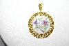 "MBA #E51-499    ""Royal Worchester Gold Filed Porcelain Floral Pendant"""