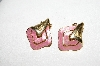 "+MBA #E51-449   ""Vintage Gold Plated Pink Enameled Clip On Earrings"""