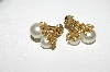 "MBA #E51-428   ""Emmons Gold Plated Faux Glass Pearl Clip On Earrings"""