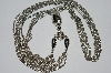 "MBA #E51-370   ""Vintage Silvertone Fancy Three Strand Necklace"""