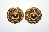 "+MBA #E51-308   ""Vintage Gold Plated Fancy Clip On Earrings"""
