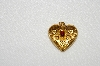"MBA #E54-010    ""Vintage Gold Plated Red Glass Stone Fancy Heart Pendant"""