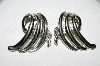 "+MBA #E51-113   ""Vintage Silvertone Fancy Clip On Earrings"""