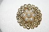 "+MBA #E51-145   ""Vintage Gold Plated Faux Glass Pearl Pin"""