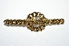 "**MBA #E51-312   ""Vintage Gold Plated Fancy Chain Style Pin"""