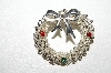 "**MBA #E51-172    ""Vintage Silvertone Red & Green Rhinestone Wreath Pin"""