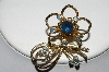 "**MBA #E51-242   ""Made In Austria Gold Plated Blue Crystal Rhinestone Flower Pin"""