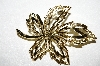 "**MBA #E51-240   ""Vintage Gold Plated Fancy Leaf Pin"""