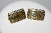 "MBA #E51-218   ""Trifari Gold Tone Fancy Square Pierced Earrings"""