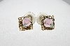 "+MBA #E51-033    ""Vintage Gold Tone Pink Porcelain Rose & Faux Pearl Pierced Earrings"""