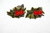 "+MBA #E51-012    ""Vintage Termoplastic Holly Leaf With Berries Clip On Earrings"""