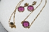 "MBA #E51-076   ""Avon Gold Tone Purple Glass Necklace & Pierced Earring Set"""