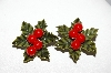 "+MBA #E51-003   ""Vintage Thermoplastic Holly Leaf With 4 Berries Clip On Earrings"""