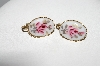 "+MBA #E51-068   ""Vintage Gold Tone Hand Painted Rose Porcelain Clip On Earrings"""