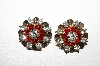 "**MBA #E51-226   ""Vintage  Set Of 2  Red & Clear Crystal Rhinestone Pins"""