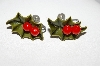 "+MBA #E51-007   ""Vintage Thermoplastic Holly Leaf & 2 Berry Screw Back Earrings"""