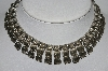 "MBA #e51-081    ""Vintage Antiqued Silvertone Fancy Necklace"""