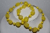 "MBA #E54-110    ""Vintage Gold Tone Yellow Lucite Bead Necklace"""