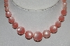 "MBA #E54-155   ""Vintage Pink Lucite Moonstone Bead Necklace"""
