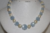 "MBA #E54-159   ""Vintage Blue Moonstone & Faux Pearl Bead Necklace"""