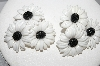 "+MBA #E54-188   ""Vintage Black & White Thermoplastic Flower Earrings"""