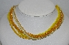 "MBA #E54-117   ""Made In Japan 5 Row Yellow Glass Bead & Faux Pearl Necklace"""