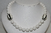 "MBA #E54-129   ""Vintage Black & White Acrylic Bead Necklace"""