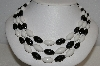 "+MBA #E54-144   ""Made In Hong Kong Black & White 3 Row Acrylic Bead Necklace"""