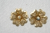 "MBA #E54-222   ""Vintage Gold Tone Mesh Flower Clip On Earrings"""