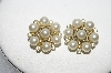 "MBA #E54-192   ""Lisner Goldtone Clear Crystal Rhinestone & Faux Pearl Earrings"""