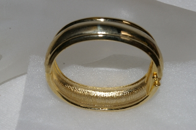 "MBA #E54-295    ""Vintage Gold Plated Fancy Hinged Cuff Bracelet"""