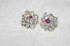 "MBA #E54-068   ""Vintage Silvertone AB Crystal Bead Clip On Earrings"""