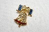 "**MBA #E54-226   ""Vintage Gold Plated Red,White & Blue Crystal Rhinestone Bell Pin"""