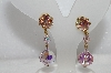 "MBa #E54-047   ""Vintage Gold Tone Fancy AB Crystal Drop Earrings"""